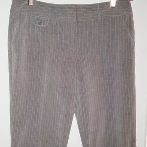Knee length dress capris. Grey with pinstripes